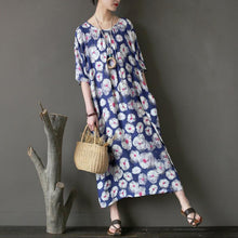 Load image into Gallery viewer, New cotton maxi dress plus size clothing Loose Printing Flower Loose Summer Women Dress