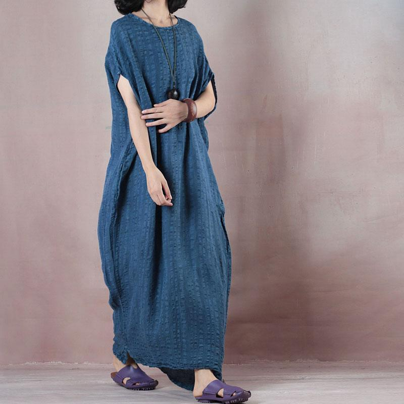 New dark blue long linen dresses Loose fitting o neck baggy dresses linen clothing dresses Fine Sleeveless pockets maxi dresses