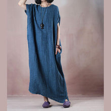 Load image into Gallery viewer, New dark blue long linen dresses Loose fitting o neck baggy dresses linen clothing dresses Fine Sleeveless pockets maxi dresses
