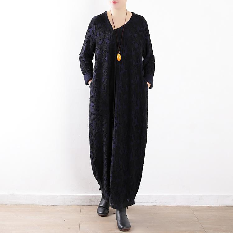 New dark blue maxi dress plus size caftans v neck asymmetric Jacquard traveling  clothing