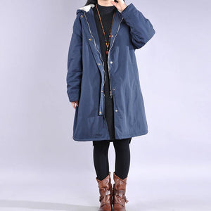 New dark blue wintre winter outwear plus size warm winter coat hooded thick winter coats