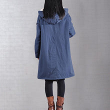 Load image into Gallery viewer, New dark blue wintre winter outwear plus size warm winter coat hooded thick winter coats