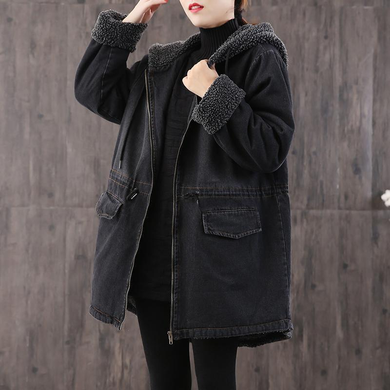 New denim black womens parkas plus size hooded drawstring outwear