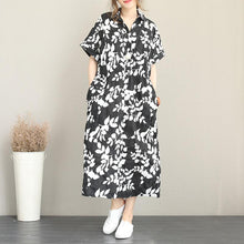 Load image into Gallery viewer, New floral long cotton dresses plus size turn-down collar short sleeve baggy dresses vintage drawstring maxi dresses