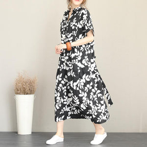 New floral long cotton dresses plus size turn-down collar short sleeve baggy dresses vintage drawstring maxi dresses