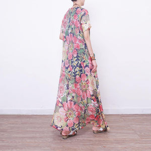 New floral long dresses Loose fitting short sleeve cotton clothing dresses vintage Chinese Button gown