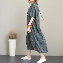 Load image into Gallery viewer, New floral long silk linen dresses plus size clothing O neck short sleeve caftans top quality baggy dresses kaftan