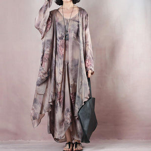 New floral silk dress casual o neck linen maxi dress women fashion clothes New two pieces kaftan