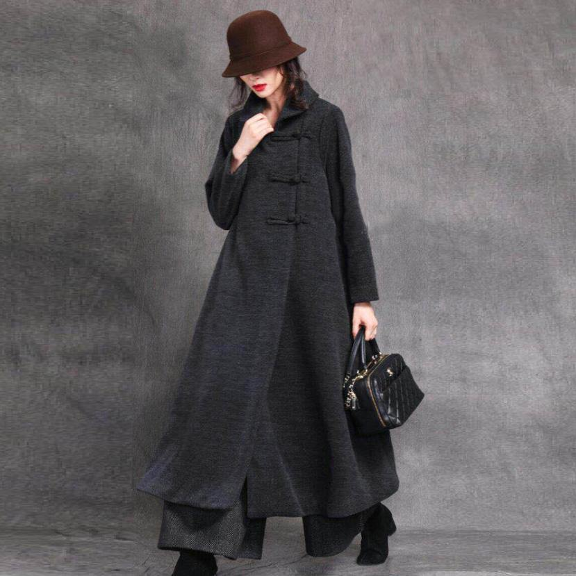 New gray black plus size long winter woolen outwear Square Collar Chinese Button coat