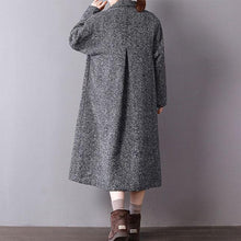 Load image into Gallery viewer, New gray coats casual long winter coat turn-down Collar outwear Button Down long coat