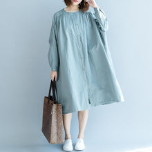 Load image into Gallery viewer, New gray green dresses oversized dress O neck New long sleeve baggy long coats