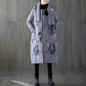 New gray print winter down coat oversized tassel New pockets down coat