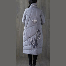 Load image into Gallery viewer, New gray print winter down coat oversized tassel New pockets down coat