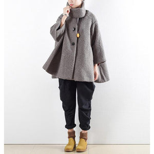 New gray wool tops oversize length coat o neck outwear pockets large hem tops