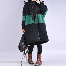 Load image into Gallery viewer, New green casual outfit casual winter jacket hooded patchwork winter outwear