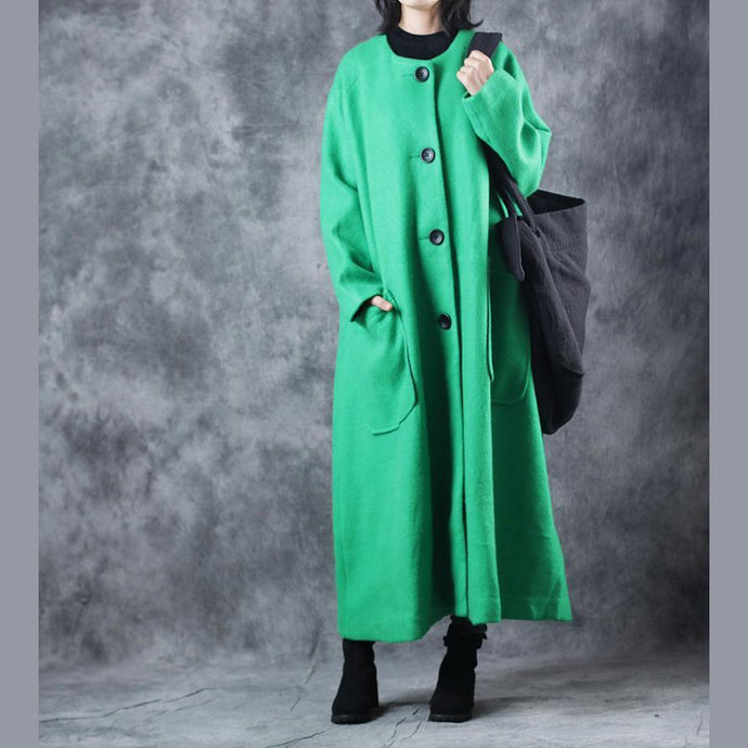 New green coats trendy plus size o neck Winter coat vintage pockets large hem long coat