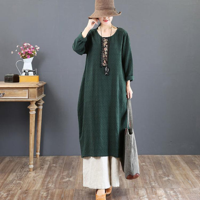 New green fall dress plus size embroidery fall dresses top quality o neck maxi dresses