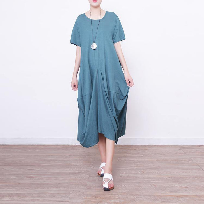 New green linen caftans Loose fitting o neck caftans casual asymmetric hem caftans