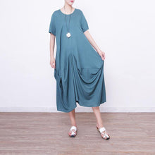 Load image into Gallery viewer, New green linen caftans Loose fitting o neck caftans casual asymmetric hem caftans