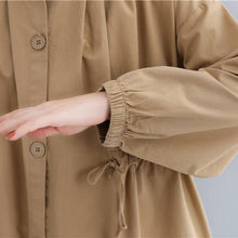 Load image into Gallery viewer, New khaki overcoat oversize drawstring coat