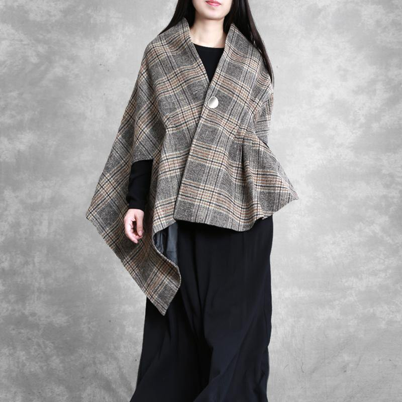 New khaki plaid Woolen Coats plus size medium length coat outwear asymmetric Batwing Sleeve