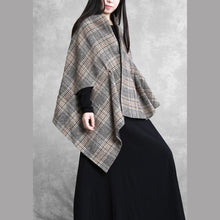 Load image into Gallery viewer, New khaki plaid Woolen Coats plus size medium length coat outwear asymmetric Batwing Sleeve