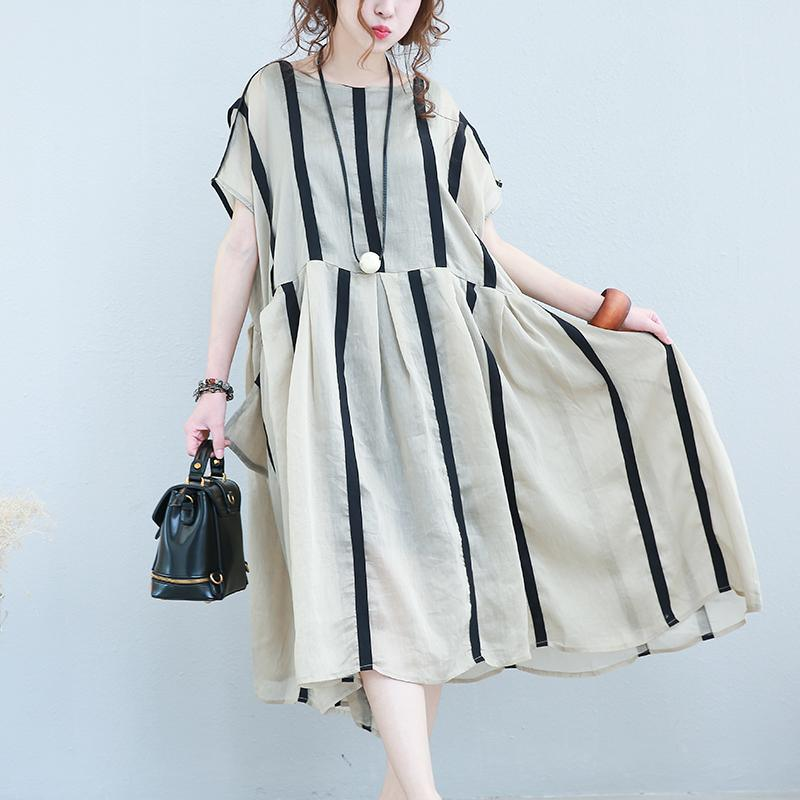 New khaki striped linen caftans Loose fitting O neck patchwork linen clothing dresses casual short sleeve dress