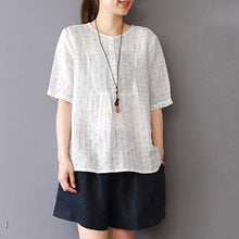Load image into Gallery viewer, New linen blouse plus size Summer Round Neck Lattice Short Sleeve White Blouse