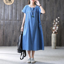 Load image into Gallery viewer, New long cotton dress plus size clothing Denim Pockets Summer Short Sleeve Loose Blue Dress