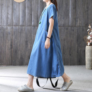 New long cotton dress plus size clothing Denim Pockets Summer Short Sleeve Loose Blue Dress