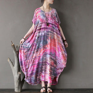 New natural cotton dress trendy plus size Ethnic Summer Round Neck Short Sleeve Printed Dress