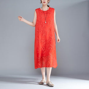 New natural silk blended dress plus size clothing Women Embroidered Pullovers Sleeveless Red Dress