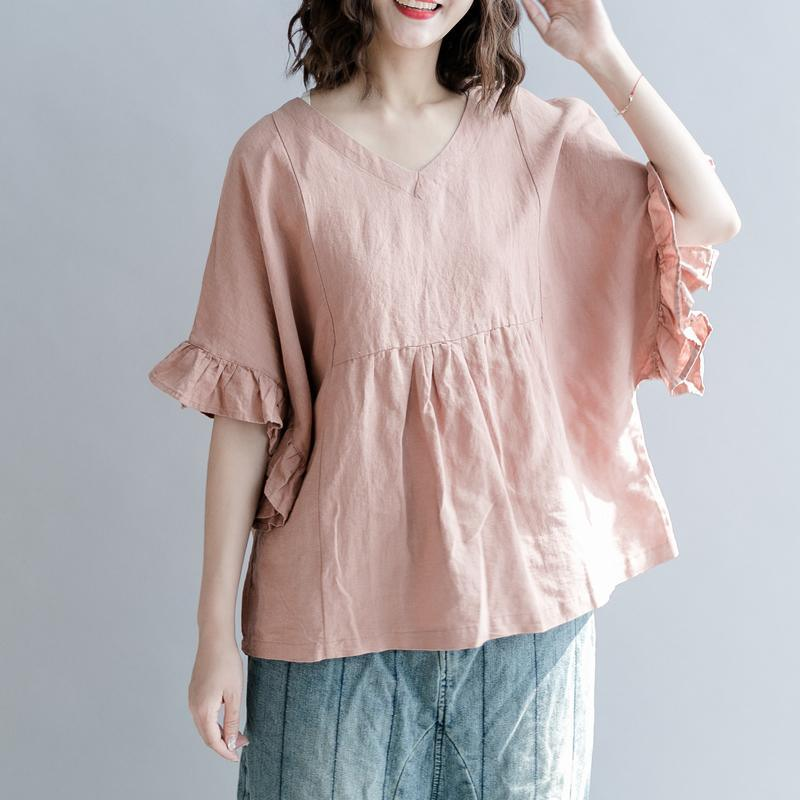 New nude cotton linen blouse oversized cotton linen maxi t shirts women Petal Sleeve v neck wrinkled cotton linen shirts