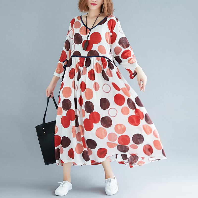 New orange dotted long cotton dress plus size v neck patchwork cotton gown New long sleeve cotton dress