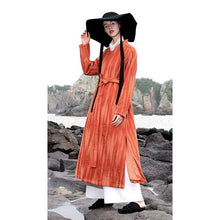 Load image into Gallery viewer, New orange wool coat woman plus size Winter V neck wrinkled woolen outweare mbroidery tie waist coat