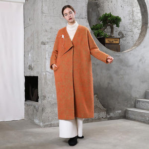 New orange woolen outwear plus size clothing maxi coat V neck pockets coats