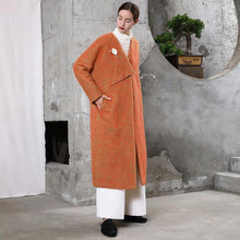 Laden Sie das Bild in den Galerie-Viewer, New orange woolen outwear plus size clothing maxi coat V neck pockets coats