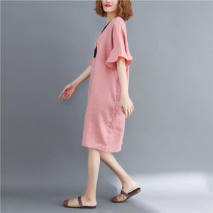 New pink natural cotton linen dress oversized O neck baggy dresses vintage Butterfly Sleeve dresses