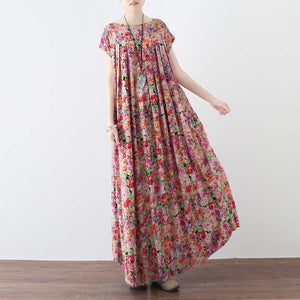 New pink prints linen caftans casual big hem linen maxi dress vintage short sleeve maxi dresses