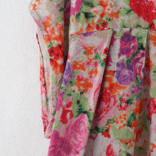 Load image into Gallery viewer, New pink prints linen caftans casual big hem linen maxi dress vintage short sleeve maxi dresses