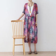 Load image into Gallery viewer, New prints long chiffon  dress plus size chiffon caftans Elegant short sleeve gown