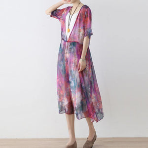 New prints long chiffon  dress plus size chiffon caftans Elegant short sleeve gown