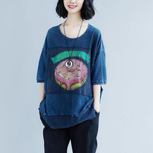 Load image into Gallery viewer, New pure cotton blouse oversize Summer Short Sleeve Navy Blue Slit Casual Tops