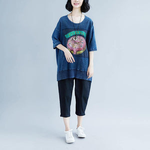 New pure cotton blouse oversize Summer Short Sleeve Navy Blue Slit Casual Tops