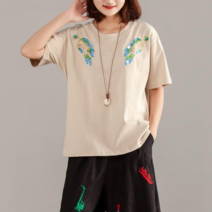 New pure cotton tops plus size Women Short Sleeve Cotton Summer Casual Beige Tops