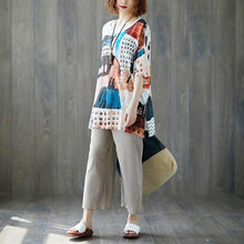 Load image into Gallery viewer, New pure linen blouse plus size Summer Fabric White Casual Short Sleeve Printed Tops
