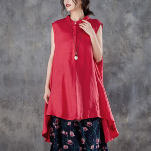 New pure linen tops trendy plus size Women Plus Size Stand Collar Sleeveless Red Tops