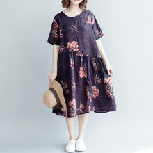 Load image into Gallery viewer, New purple print natural cotton linen dress oversize O neck baggy dresses traveling clothing Fine short sleeve wrinkled long dresses