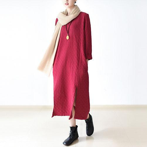 New red cotton dresses plus size cotton caftans O neck traveling clothing side open long dresses