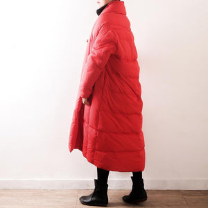 New red down coat oversized V neck thick quilted coat top quality tie waist pockets coats